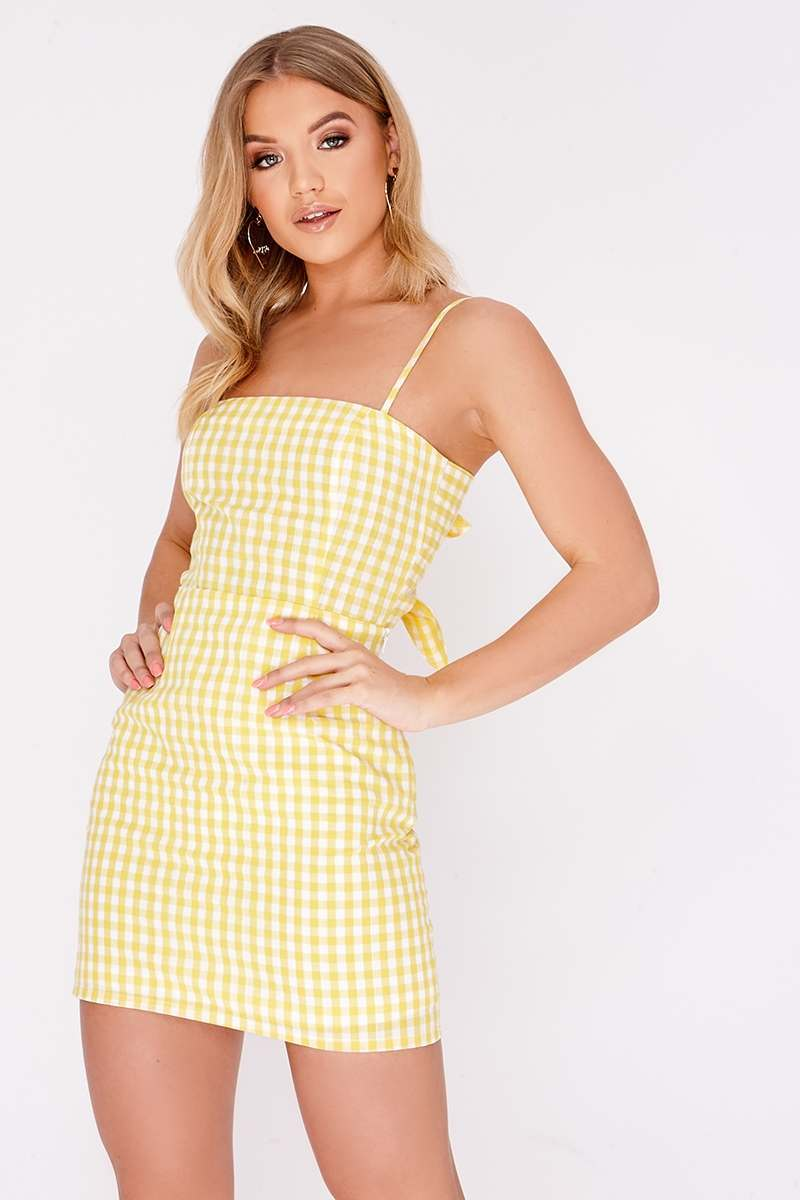FLOSSI YELLOW GINGHAM TIE BACK MINI DRESS