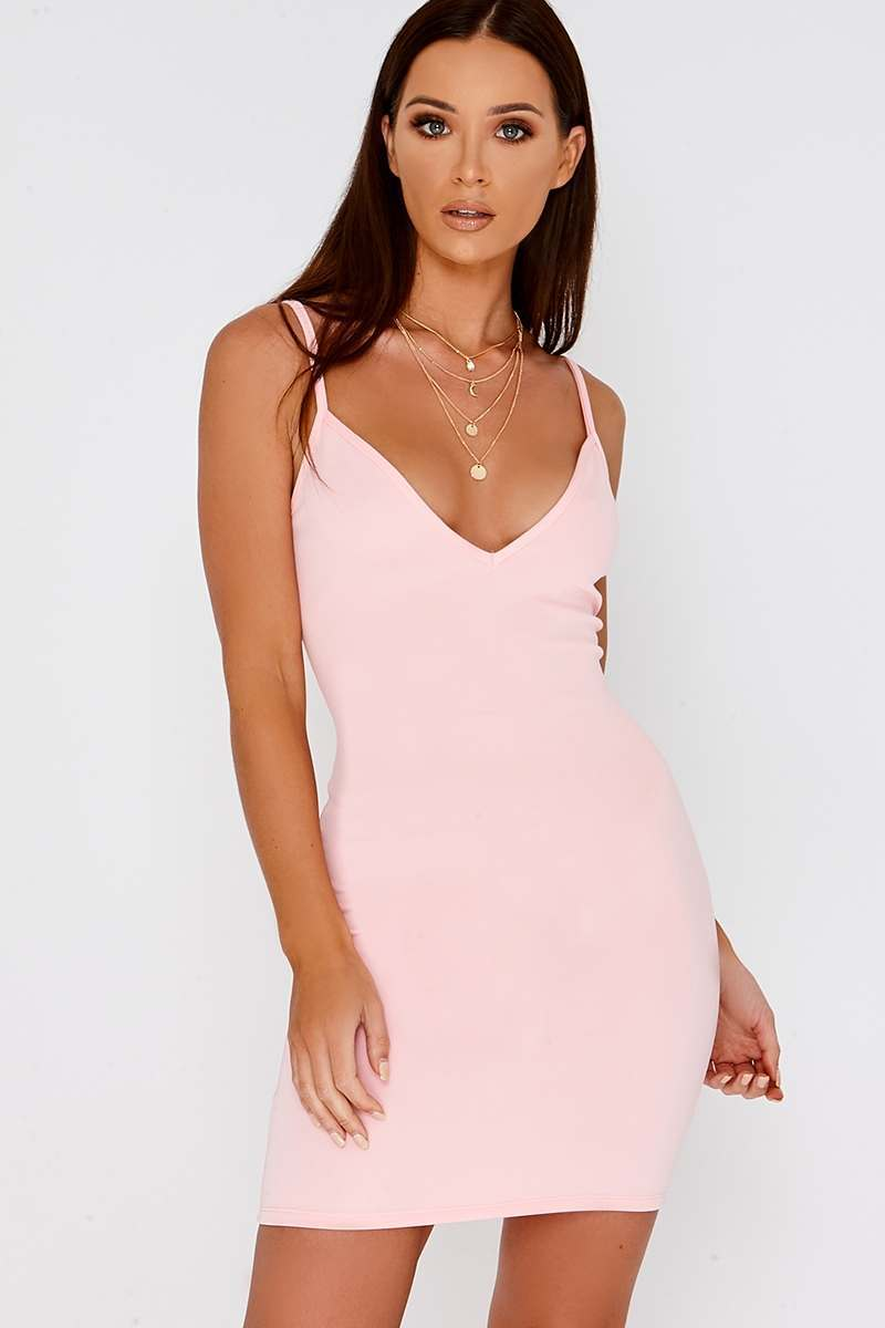 BASIC PALE PINK SCUBA PLUNGE BODYCON DRESS
