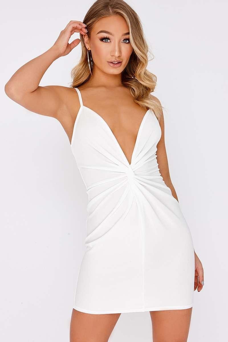 DARIE WHITE TWIST FRONT PLUNGE MINI DRESS