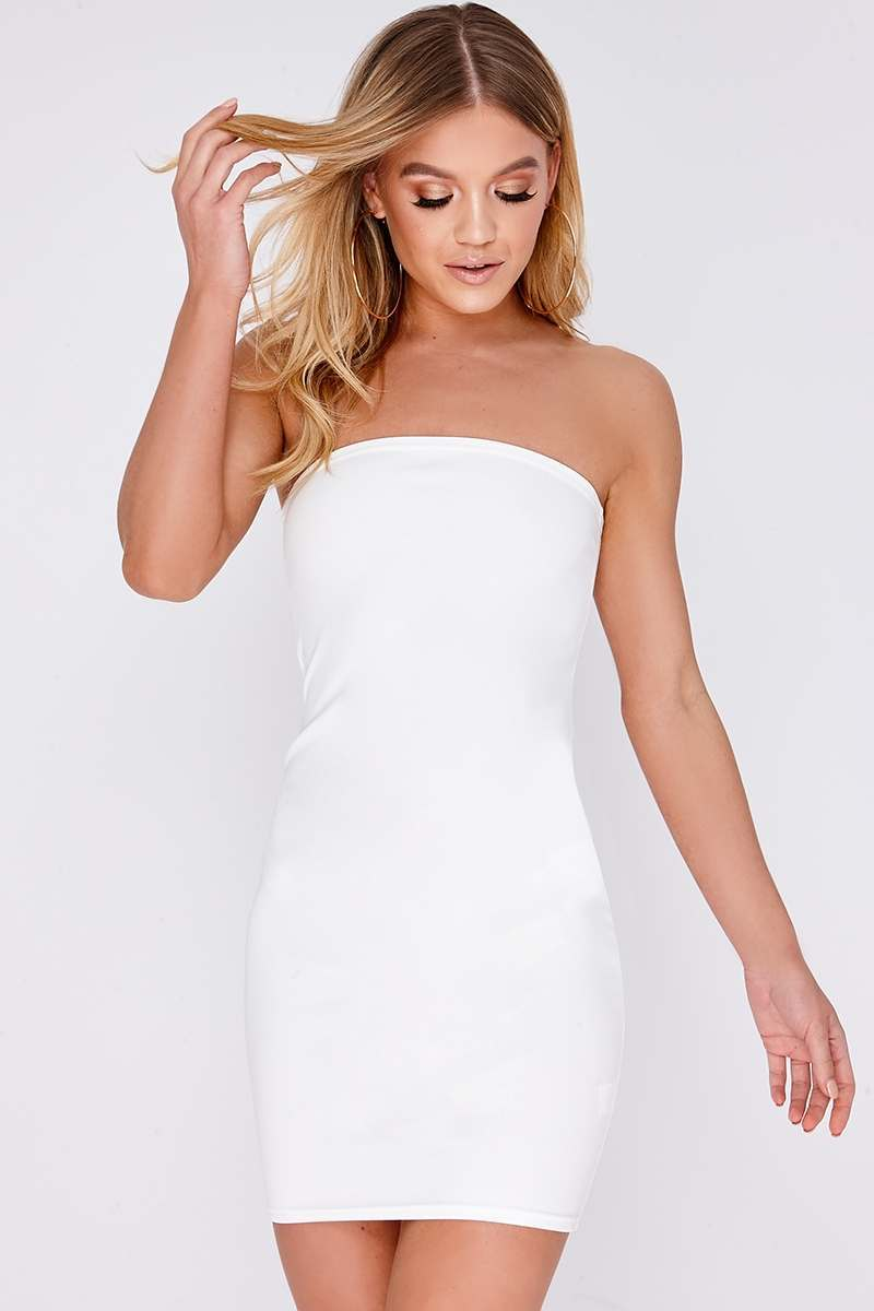 EVANIA WHITE BANDEAU MINI DRESS