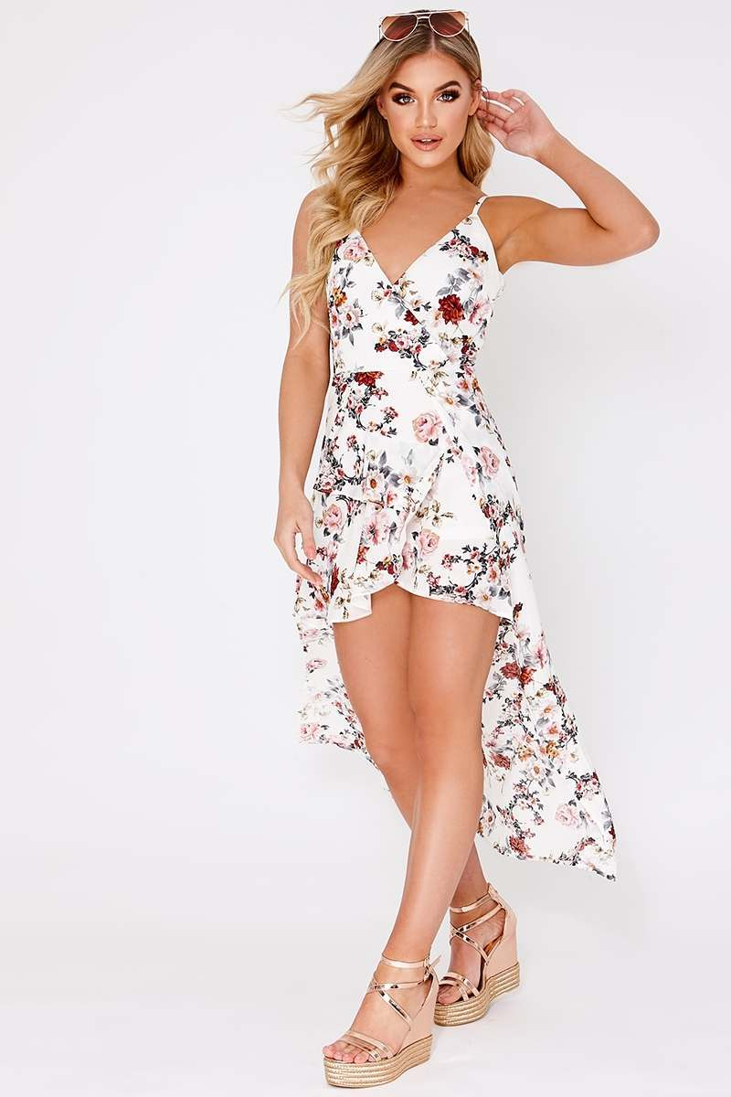 BUENA WHITE FLORAL OVERLAY MAXI DRESS