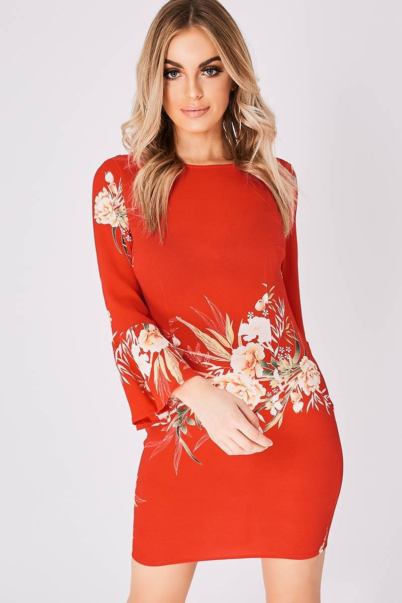 AURIA RED FLORAL FLARED SLEEVE MINI DRESS