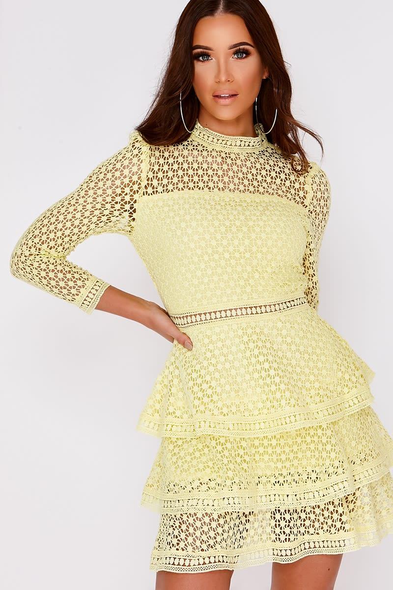 AMYA LEMON CROCHET LACE LAYERED DRESS