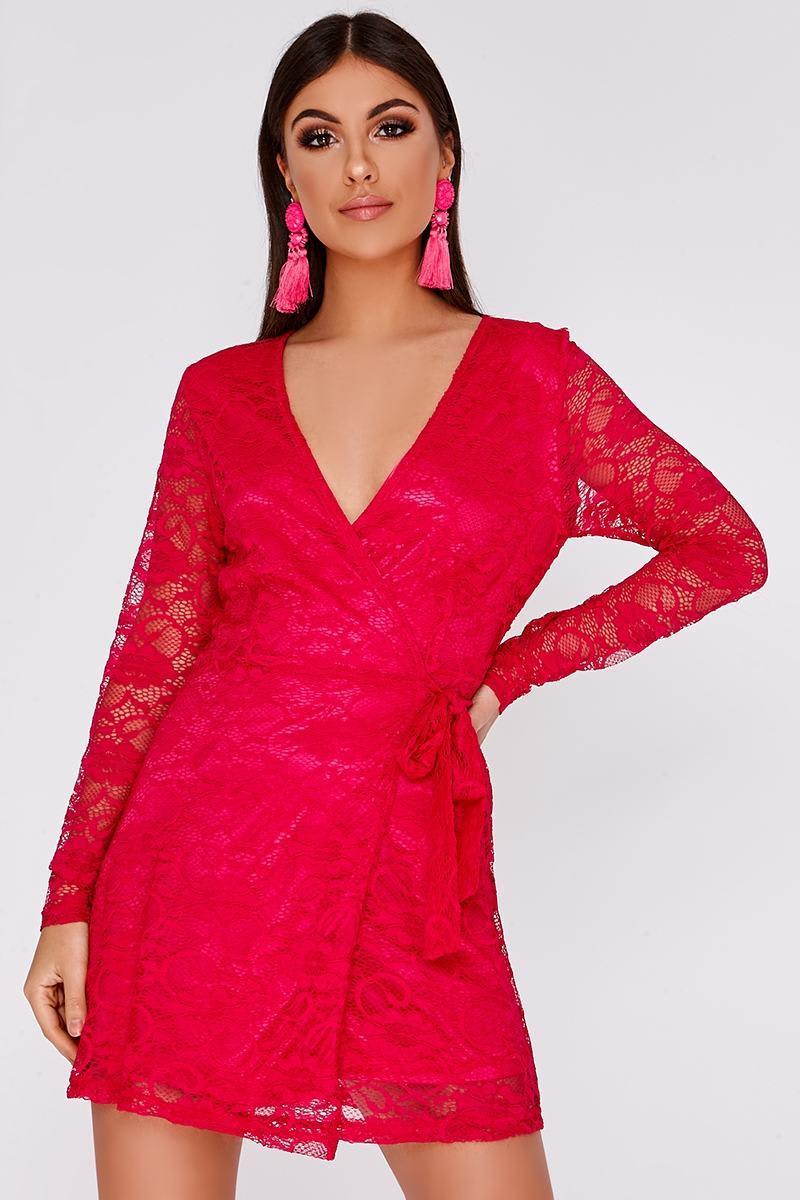 fuchsia floral lace wrap over mini dress