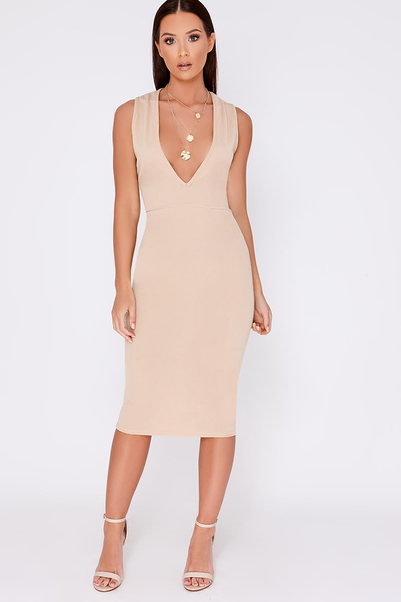 DOLLEY STONE PLUNGE MIDI DRESS