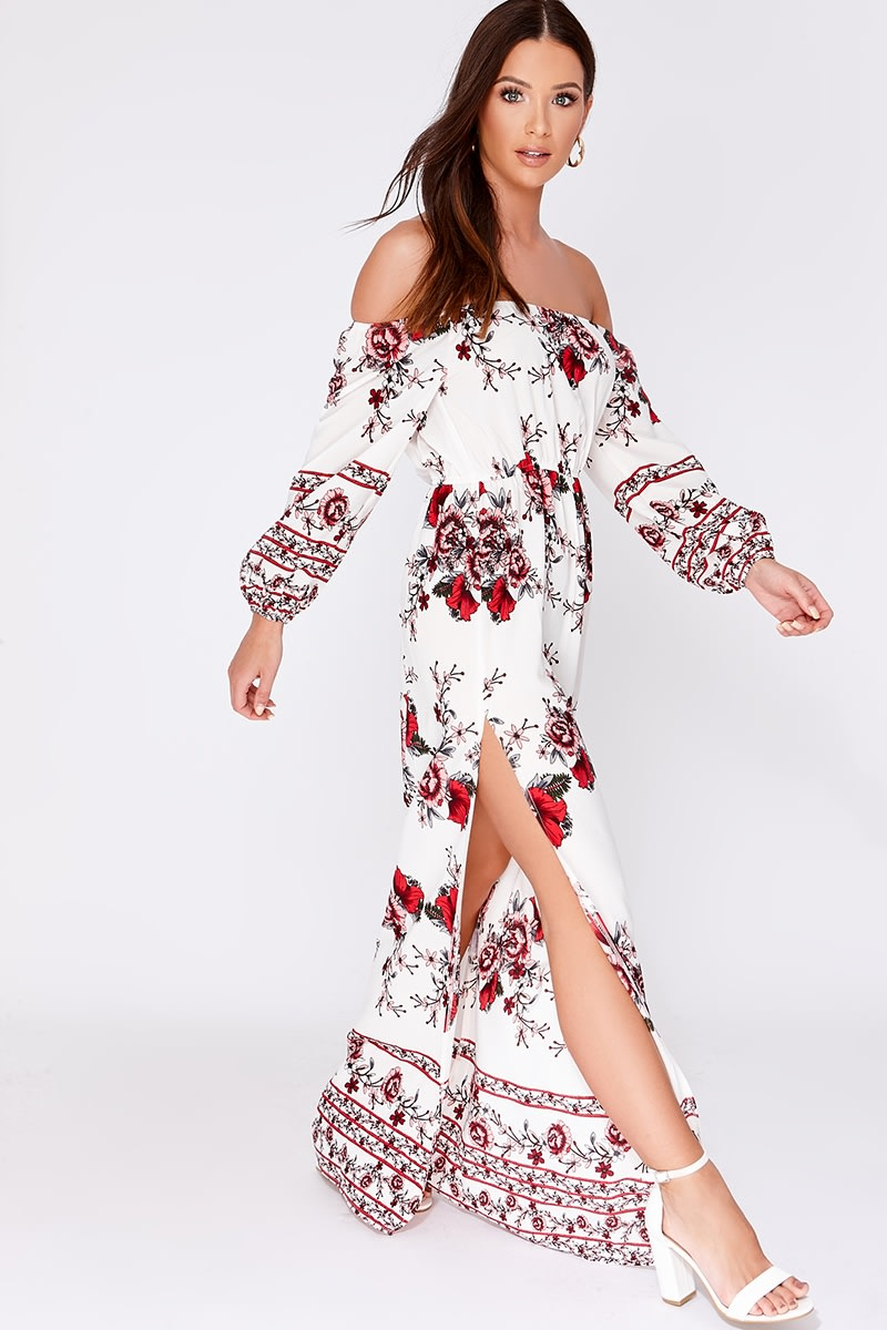 AUVIE WHITE FLORAL BARDOT MAXI DRESS