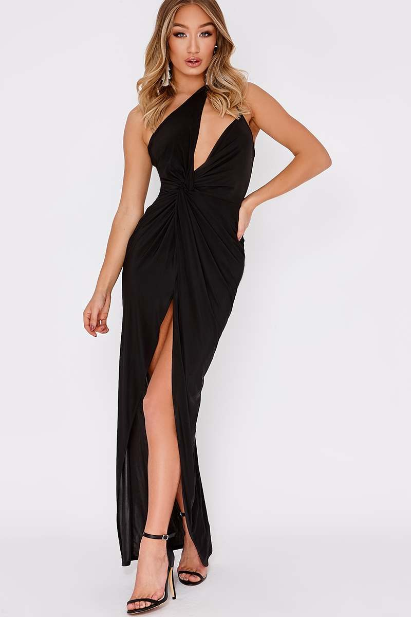 DILIS BLACK ONE SHOULDER DOUBLE STRAP MAXI DRESS