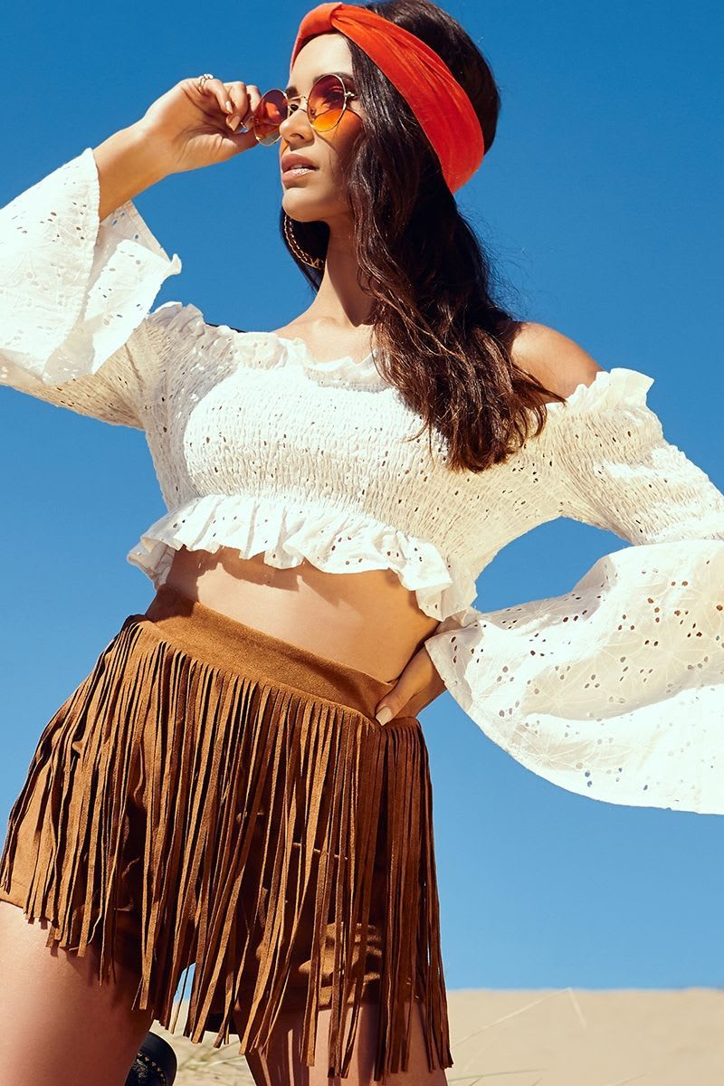 LYSHIA WHITE BRODERIE ANGLAISE SHIRRED FLARE SLEEVE CROP TOP