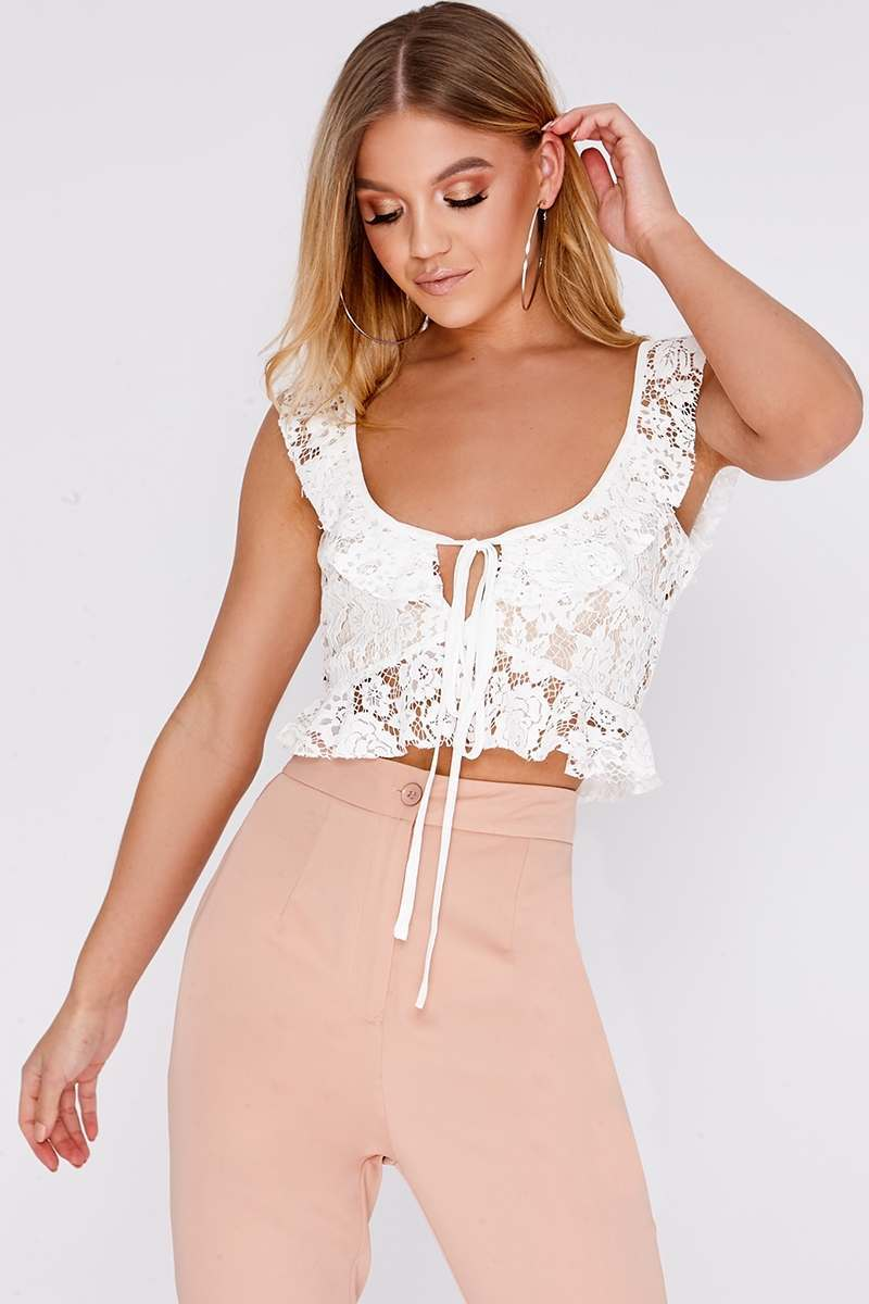 HALIA WHITE LACE FRILL TIE FRONT BRALET