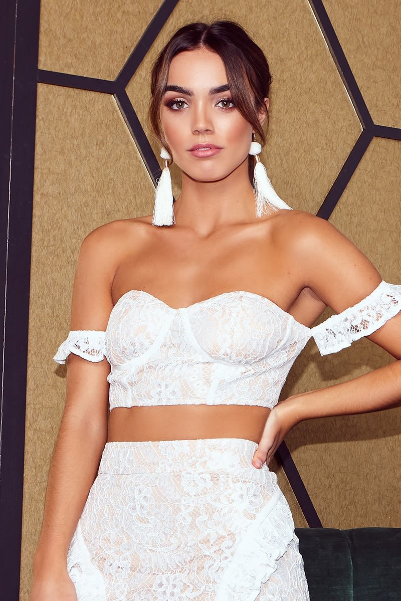 LILA WHITE LACE BARDOT CROP TOP
