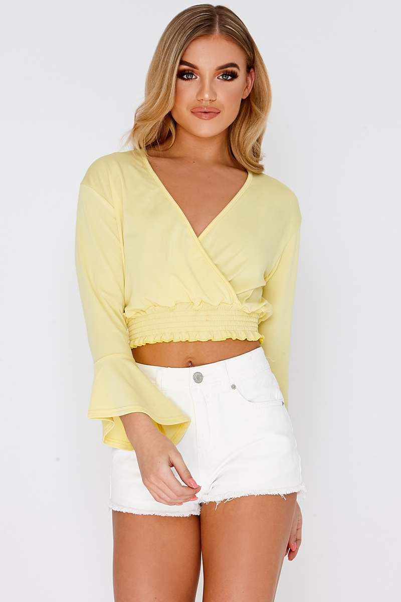 LAVELLE YELLOW WRAP ELASTICATED HEM CROP TOP