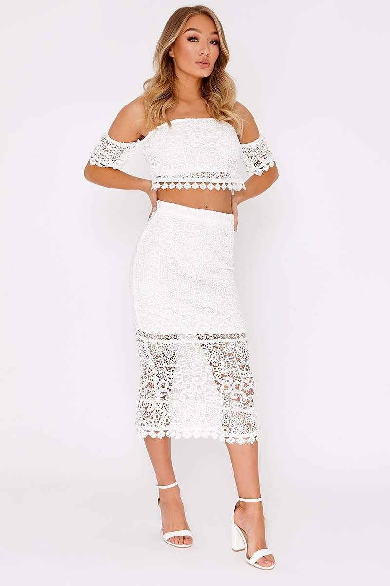 MABELLE WHITE LACE MIDI SKIRT