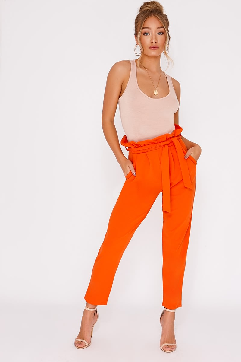 CODIA ORANGE PAPERBAG SKINNY TROUSERS