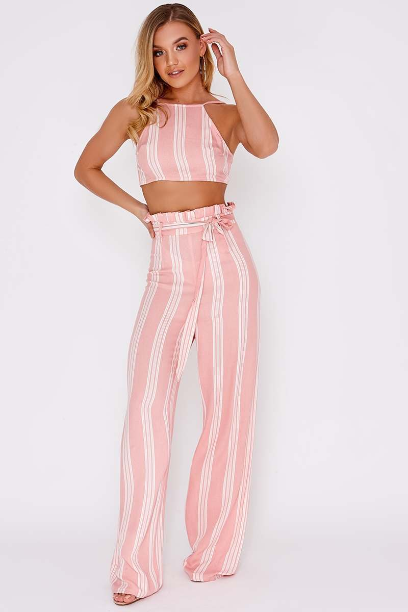 JAELE PINK STRIPED PAPERBAG WIDE LEG TROUSERS
