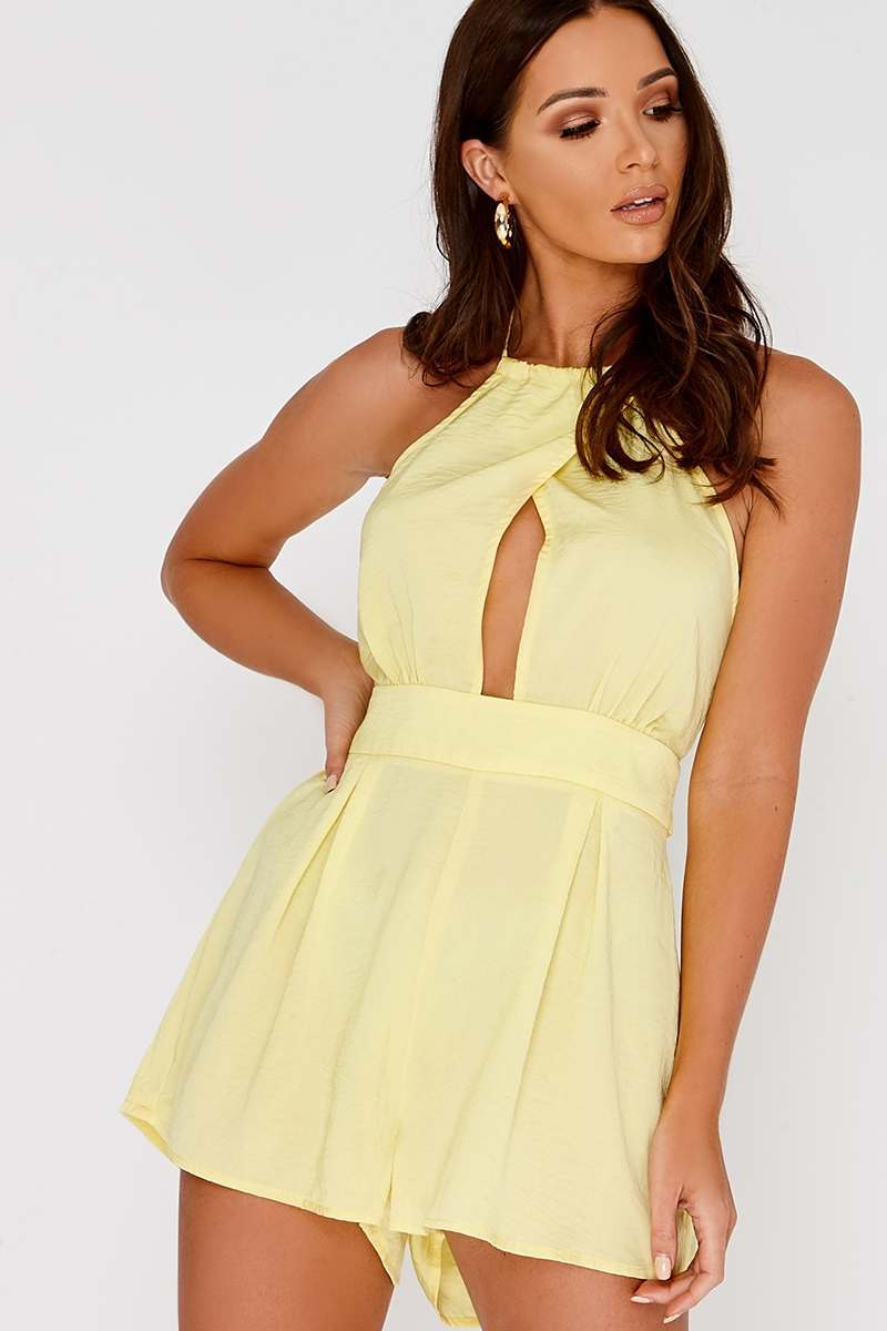 CHIA YELLOW SATIN HALTERNECK BACKLESS PLAYSUIT