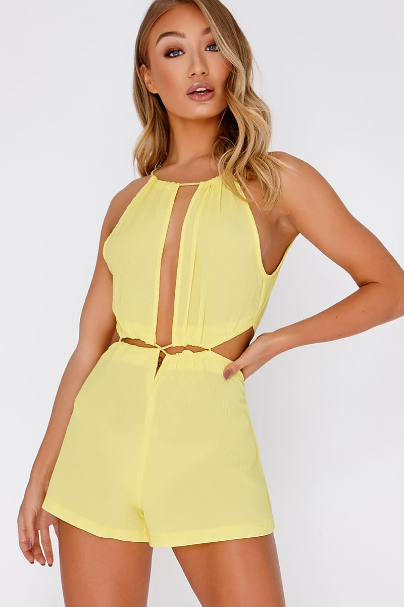 CHRISTEL YELLOW CUT OUT DRAWSTRING PLAYSUIT
