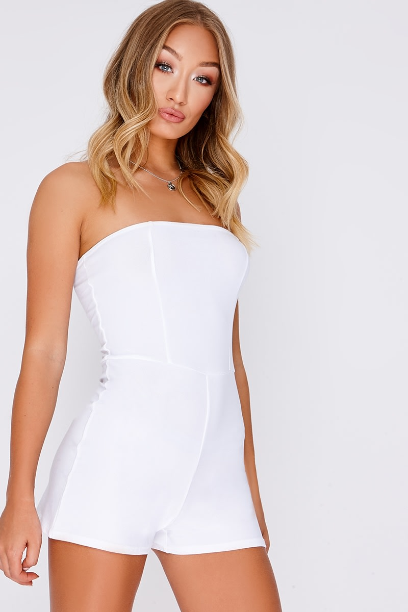 BASIC WHITE CREPE BANDEAU PLAYSUIT