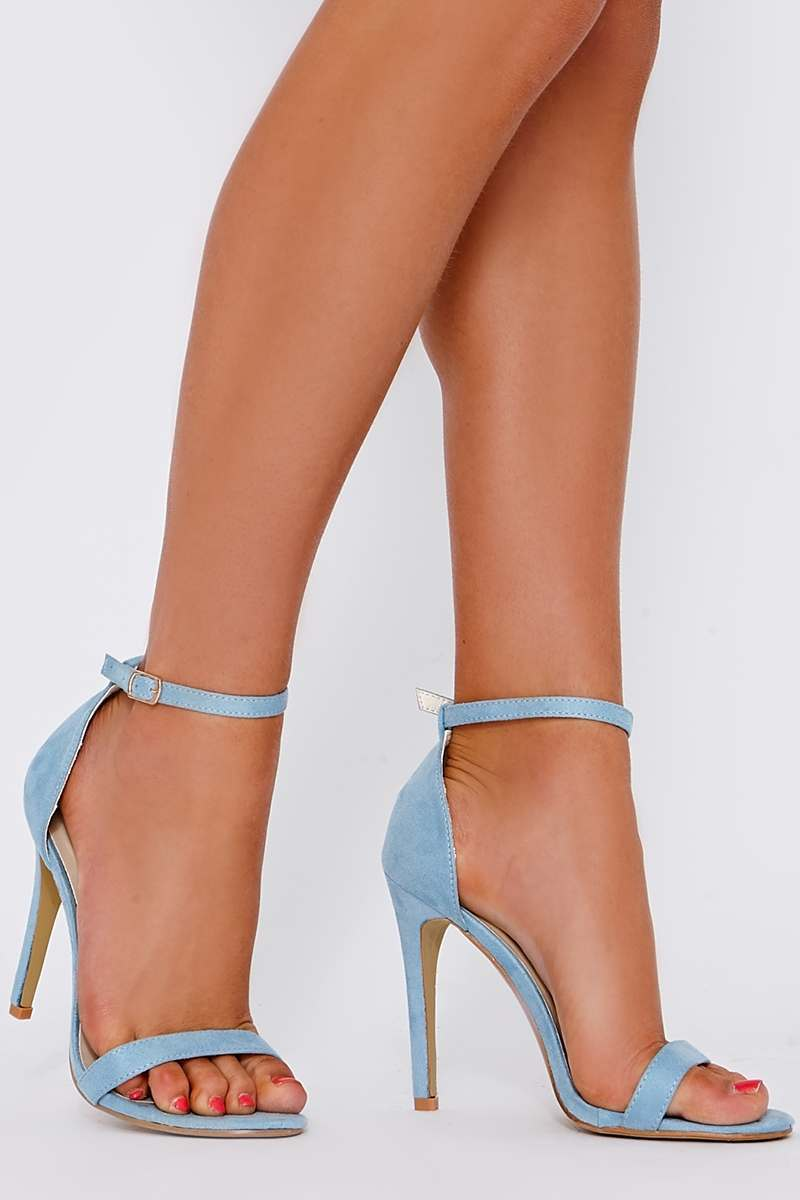 MARNEY BABY BLUE FAUX SUEDE ANKLE STRAP HEELS