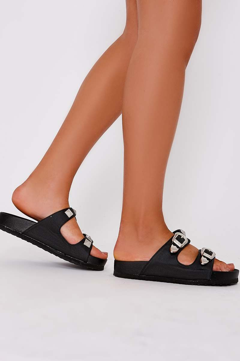 REX BLACK FAUX LEATHER WESTERN BUCKLE SLIDERS