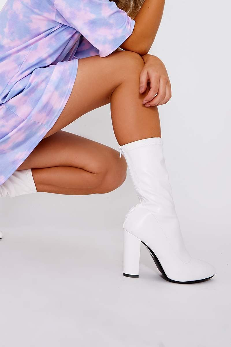 LILYANNA WHITE FAUX LEATHER HEELED ANKLE BOOT