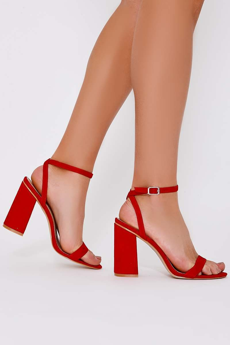 SKY RED FAUX SUEDE BARELY THERE BLOCK HEELS