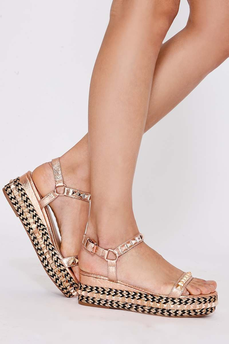 QUELA ROSE GOLD FAUX LEATHER STUDDED PLATFORM ESPADRILLES