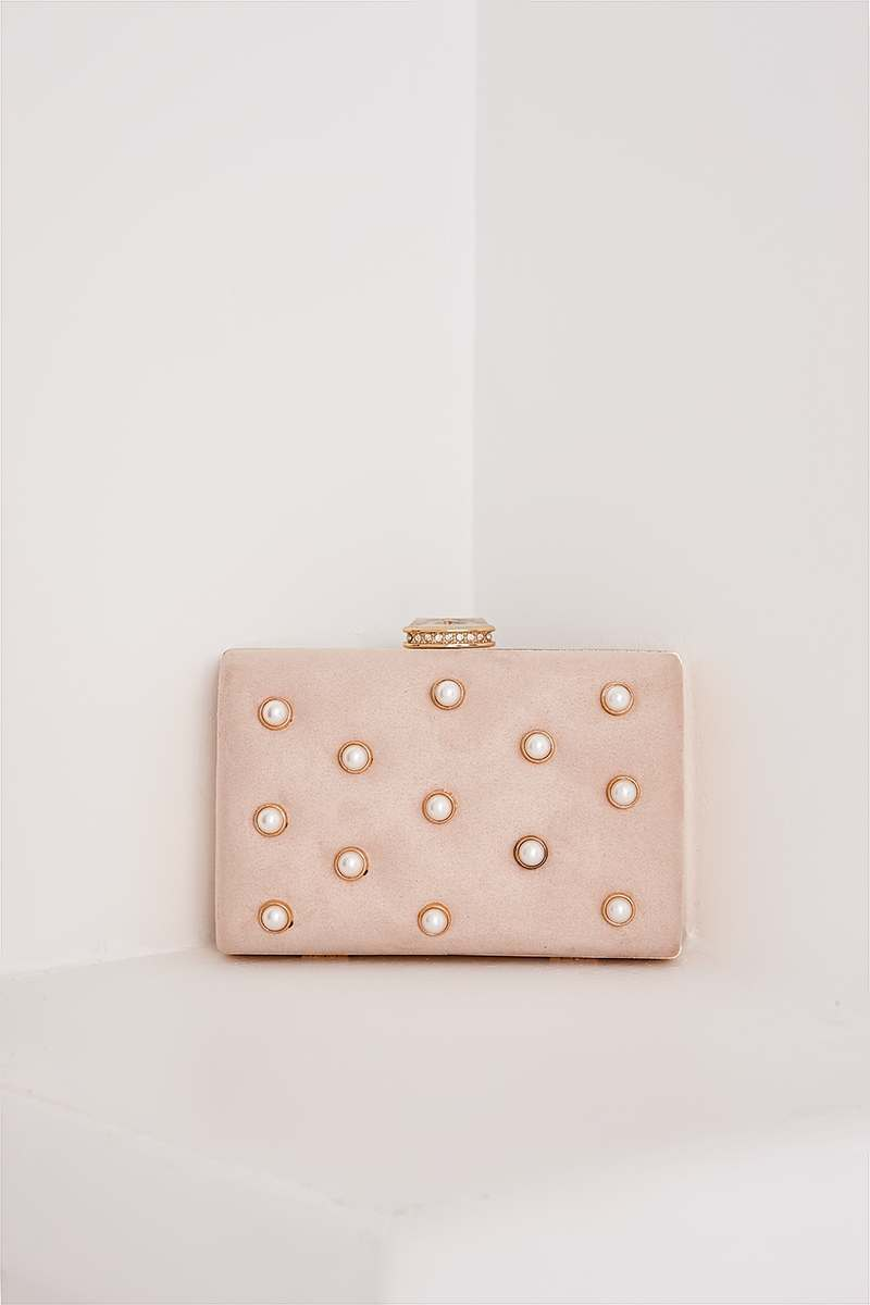 NUDE FAUX SUEDE PEARL DETAIL HARD CLUTCH BAG