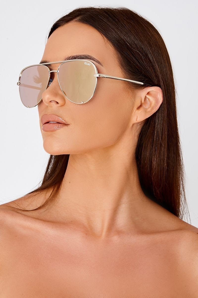 QUAY HIGH KEY ROSE GOLD OVERSIZED AVIATOR SUNGLASSES