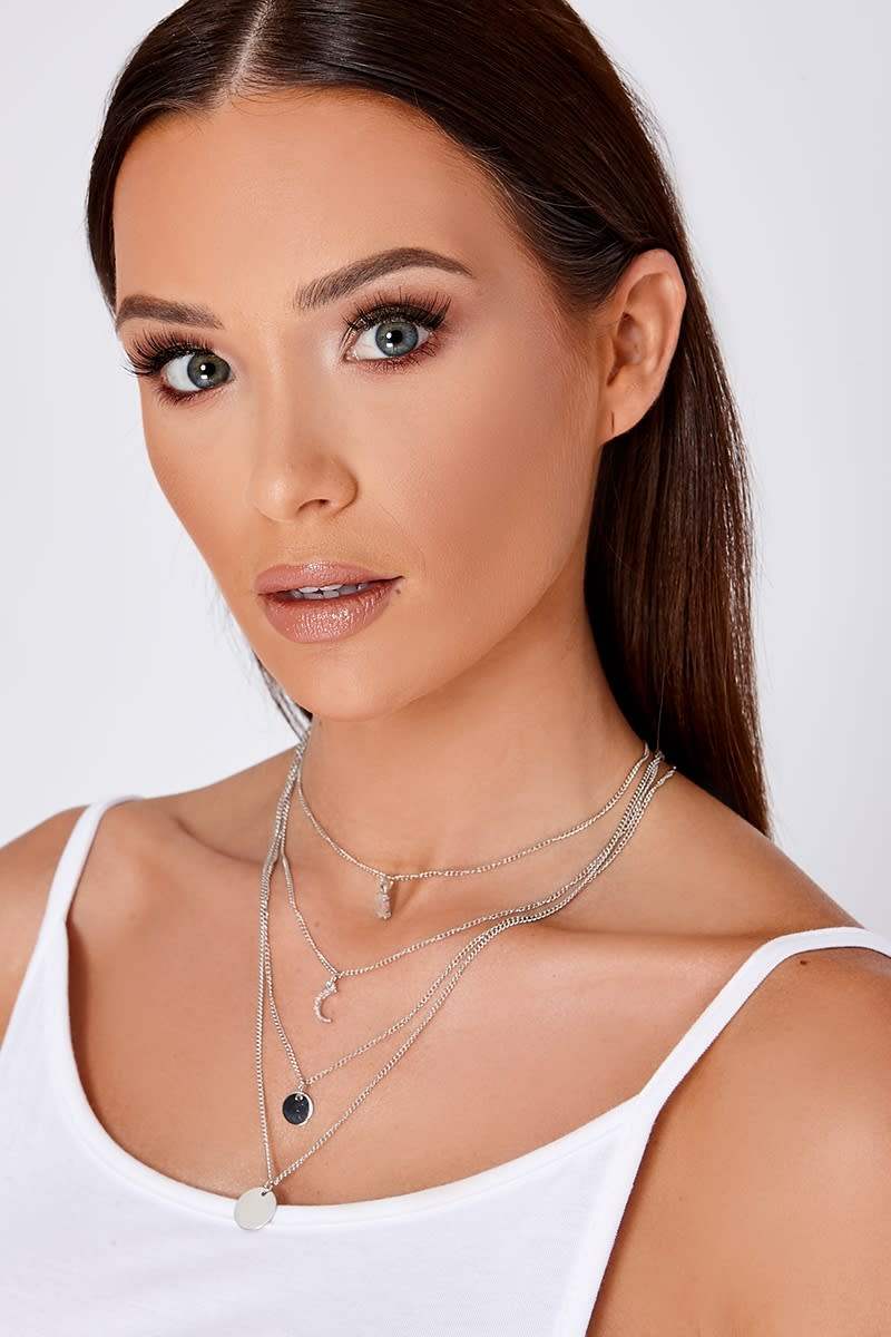 SILVER MULTI LAYER CHARM AND COIN PENDANT NECKLACE