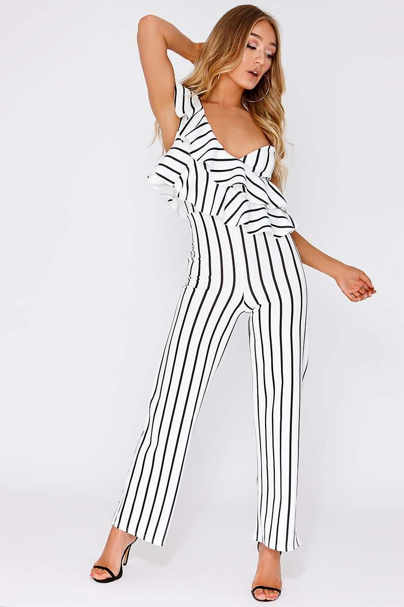 LINDAS WHITE STRIPE FRILL ONE SHOULDER JUMPSUIT
