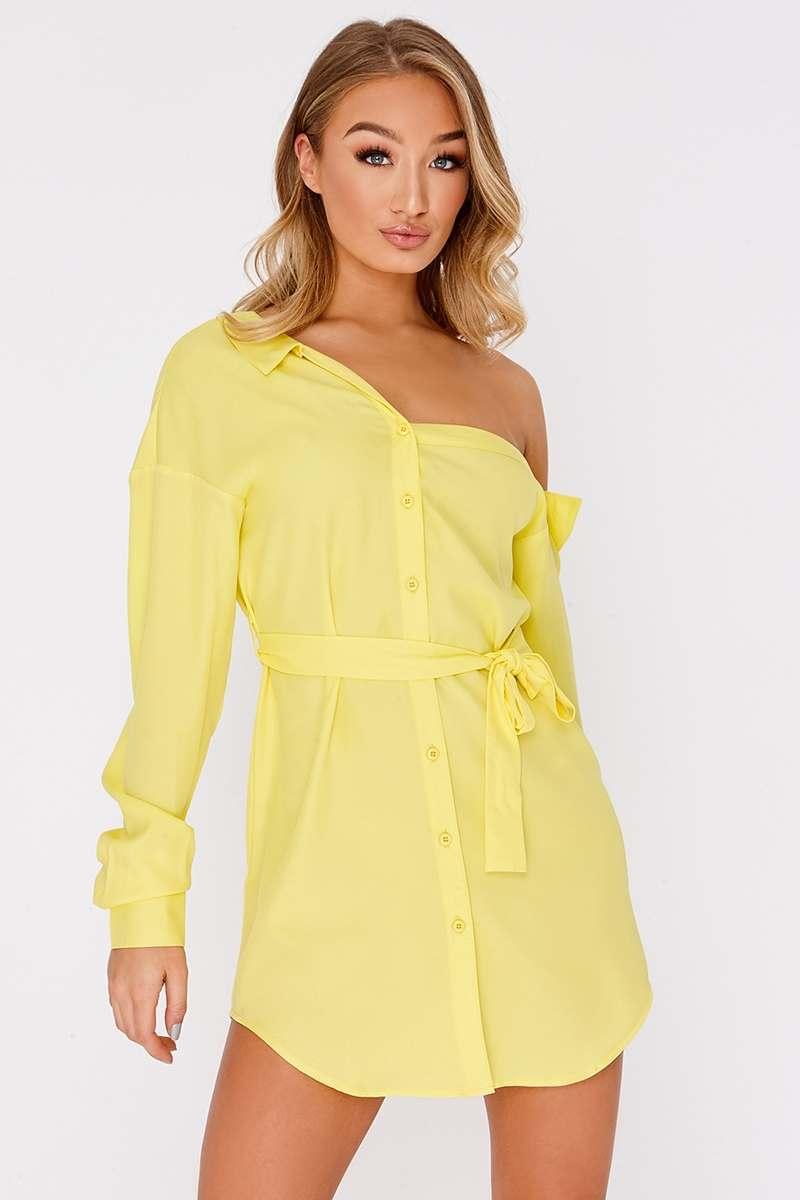 lemon asymmetric shirt dress
