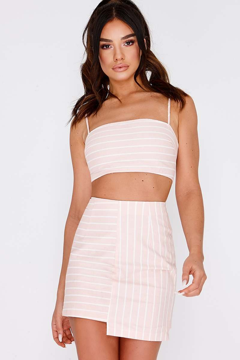 SARAH ASHCROFT PINK STRIPE ASYMMETRIC MINI SKIRT