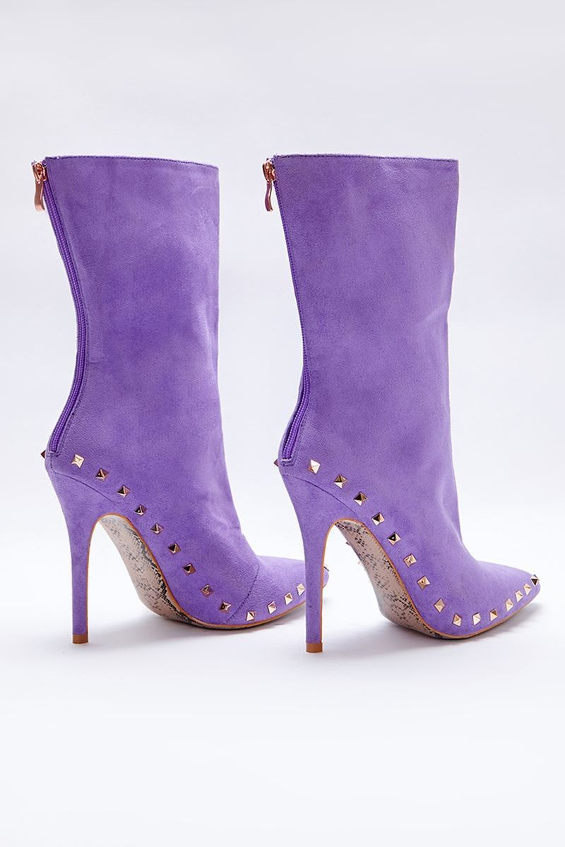 SARAH ASHCROFT LILAC FAUX SUEDE STUDDED SOLE ANKLE BOOTS