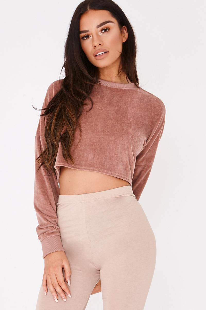 SARAH ASHCROFT DUSTY ROSE TEDDY FLEECE CROPPED JUMPER