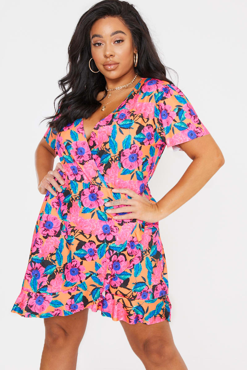 CURVE BILLIE FAIERS PINK FLORAL PRINT WRAP FRONT MINI DRESS