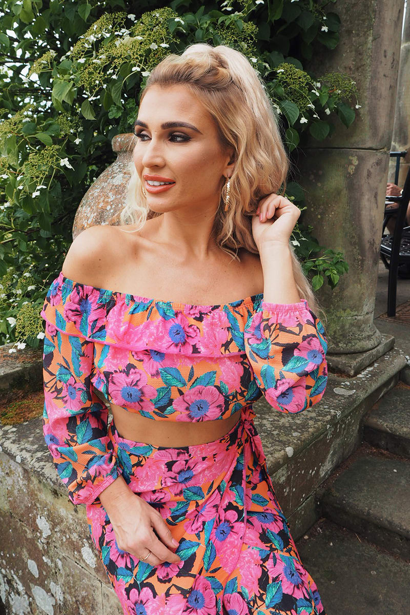 BILLIE FAIERS PINK FLORAL PRINT BARDOT CO-ORD CROP TOP