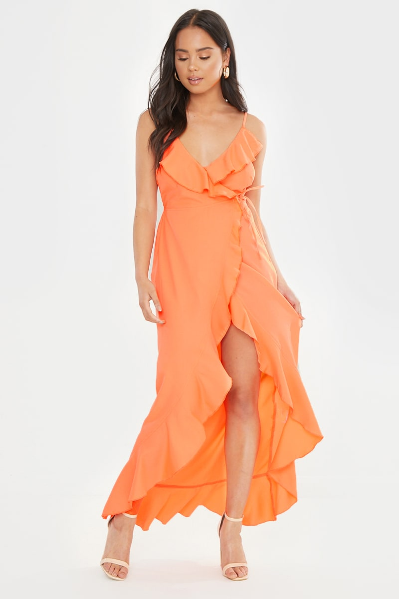 PETITE DANI DYER ORANGE WRAP MAXI DRESS