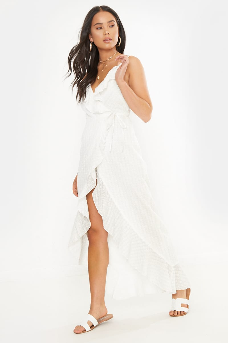 Petite Dani Dyer White Wrap Broderie Anglaise Maxi Dress by In The Style