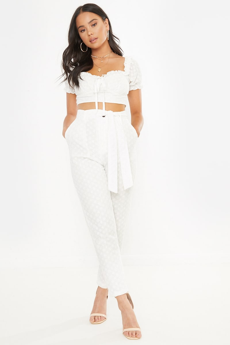 PETITE DANI DYER WHITE BRODERIE ANGLAISE TAPERED TROUSERS