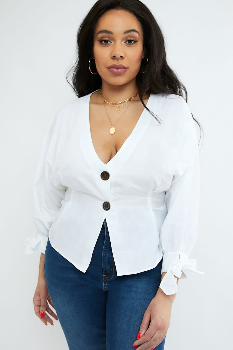 CURVE EMILY ATACK WHITE SLEEVE DETAIL POPLIN BUTTON DOWN TOP