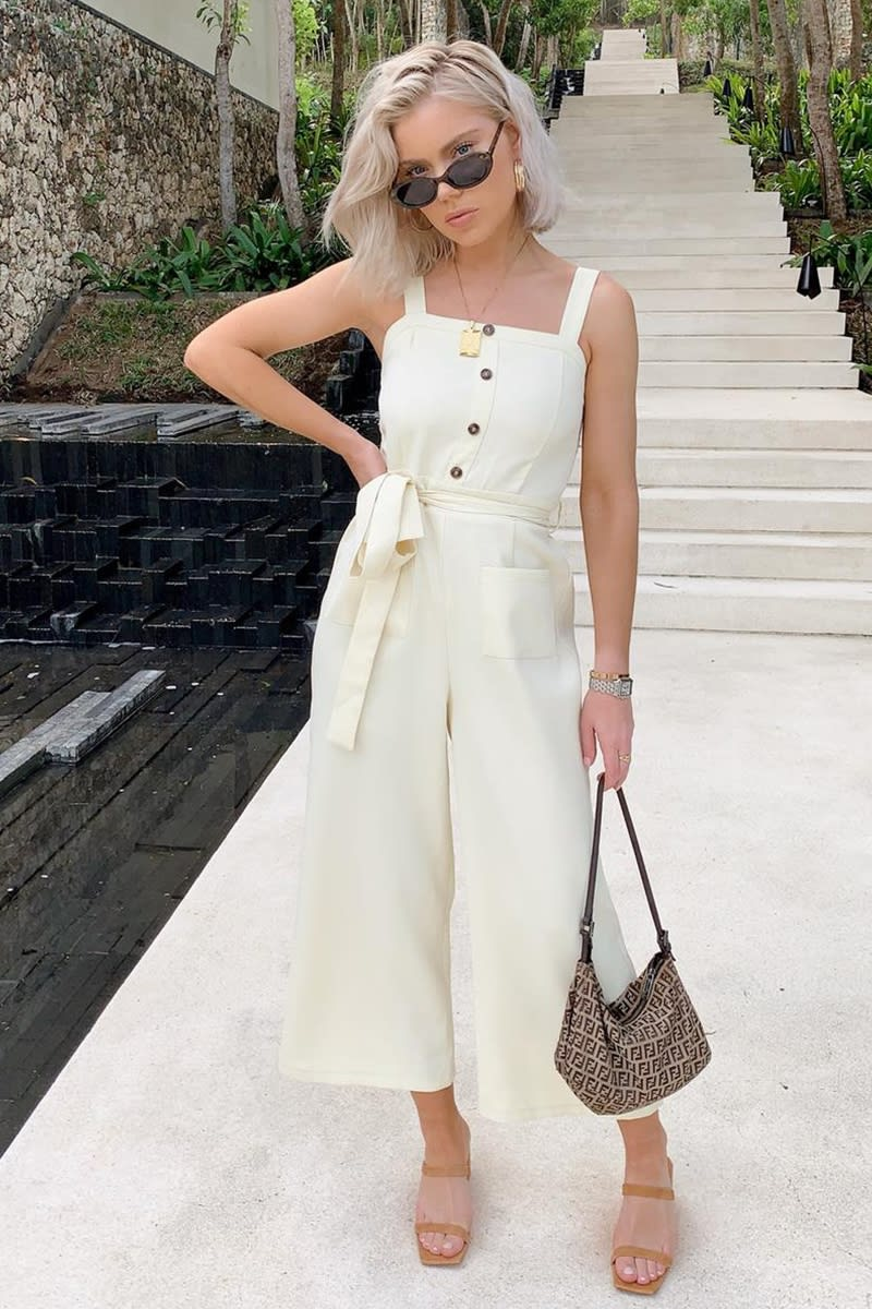 LAURA JADE CREAM STRAPPY BUTTON FRONT CULOTTE JUMPSUIT