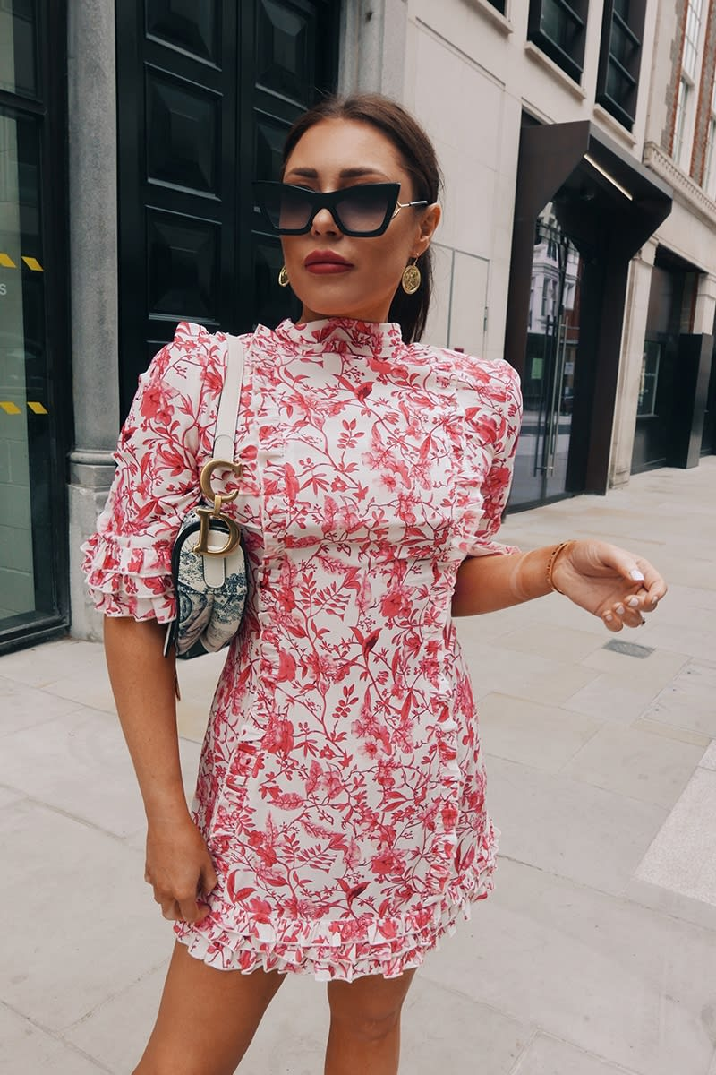 LORNA LUXE 'PRACTICALLY PERFECT' PORCELAIN PINK FRILL DETAIL DRESS