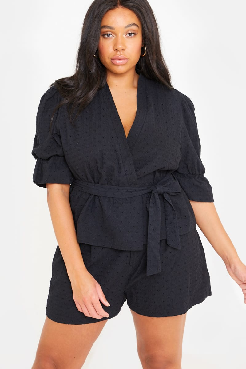 CURVE LORNA LUXE 'RIVIERA' BLACK BRODERIE ANGLAISE PUFF SLEEVE CO-ORD JACKET