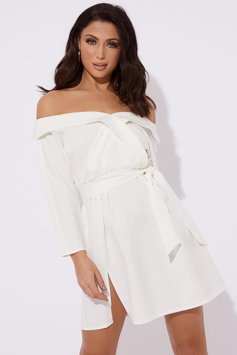 white bardot tie waist mini dress