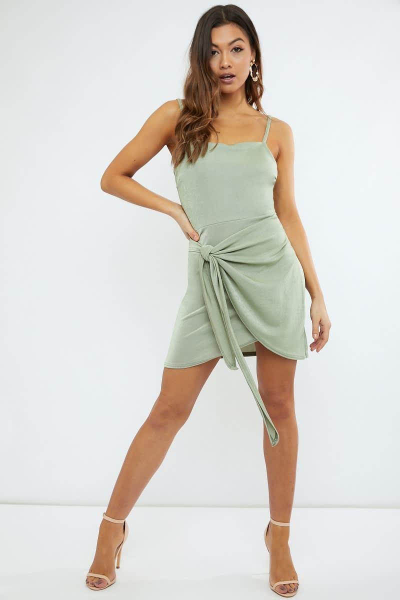 sage green open back wrap front mini dress