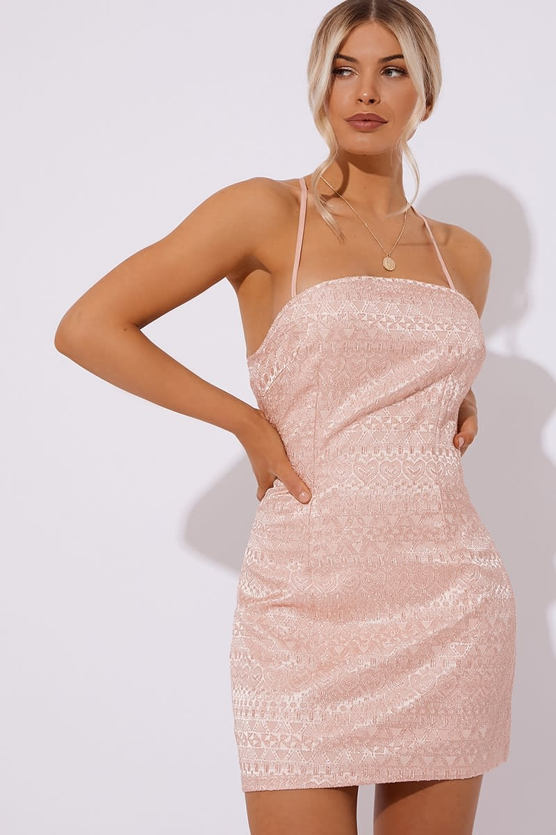 light pink jacquard lace up back dress