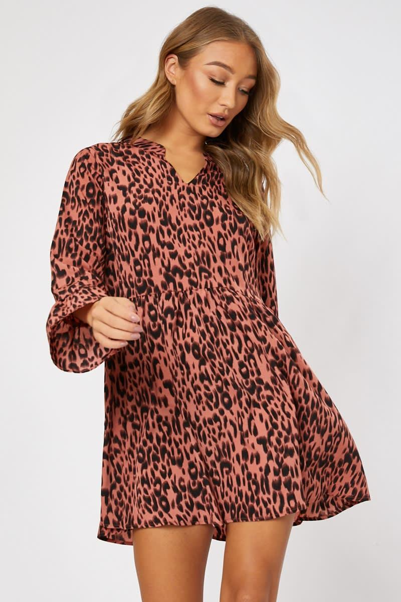 pink leopard print smock dress