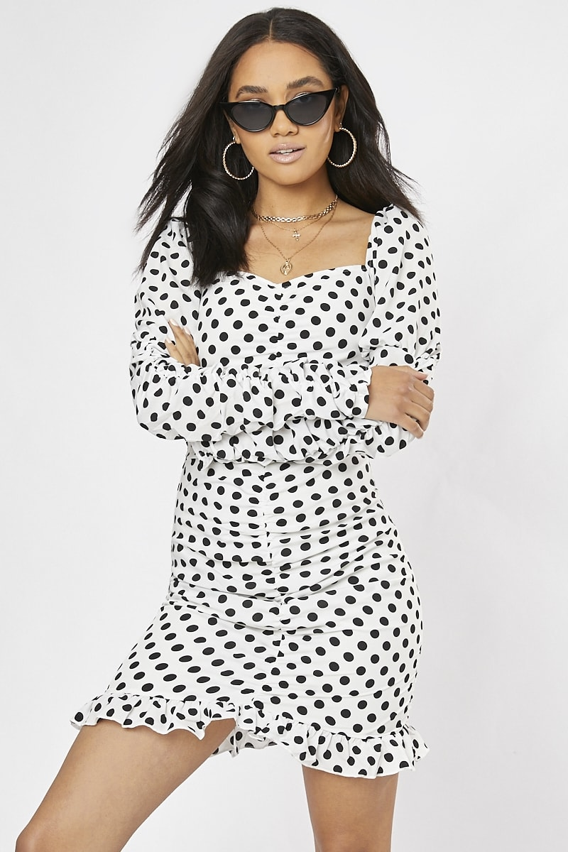 white polka dot puff sleeve milkmaid dress