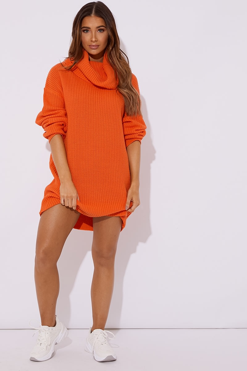 orange roll neck knitted jumper dress