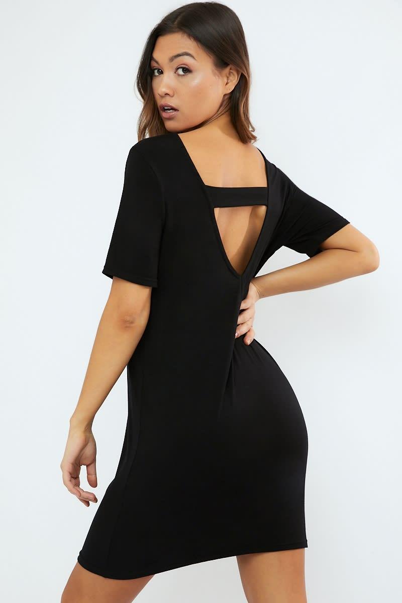 black plunge back loungewear t shirt dress